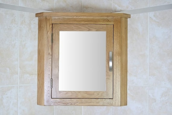 Oak Wall Mounted Mirrored Bathroom Corner Cabinet Overhead Etsy