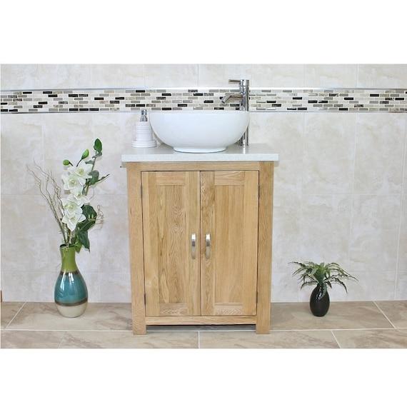 Solid Oak Bathroom Vanity Unit Bathroom Slimline Cabinet Etsy