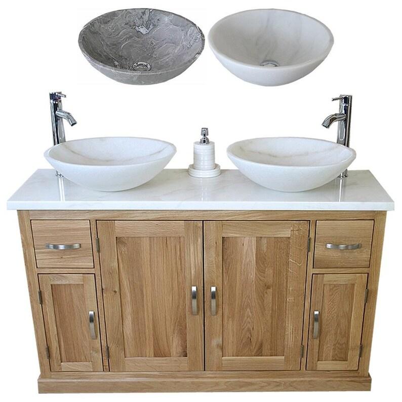 Outstanding Solid Oak Bathroom Vanity Unit Cabinet Twin Marble Bowl Basin Tap Plug 402Wmsbcx2 Beutiful Home Inspiration Xortanetmahrainfo