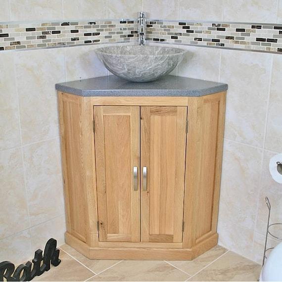 Bathroom Vanity Unit Free Standing Oak Corner Cabinet Grey Etsy