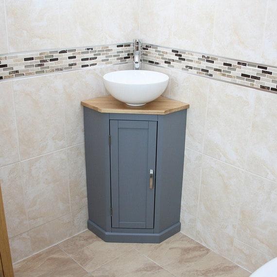 Bathroom Grey Painted Vanity Unit Corner Sink Cabinet With Etsy