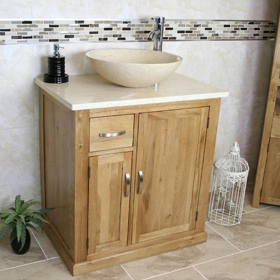 Bathroom Vanity Unit Solid Oak Cream Marble Top And Cream Etsy