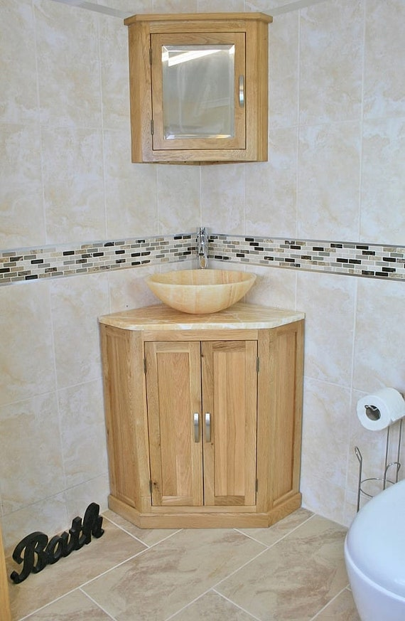Bathroom Vanity Unit Free Standing Oak Corner Cabinet Golden Etsy
