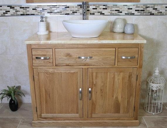 Bathroom Vanity Unit Oak Cabinet Wash Stand Golden Onyx Top Etsy