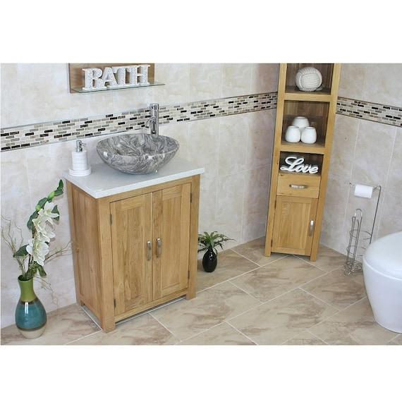 Bathroom Vanity Unit Solid Oak With White Quartz Top Etsy