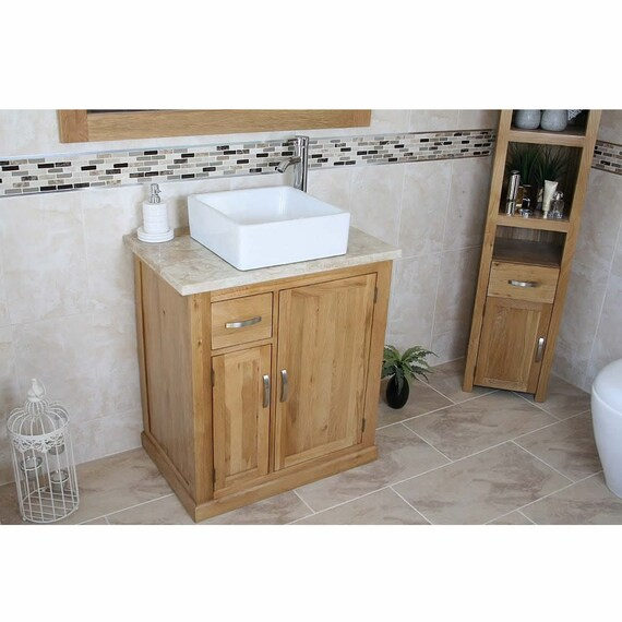 Bathroom Vanity Unit Free Standing Oak Cabinet Travertine Top Etsy