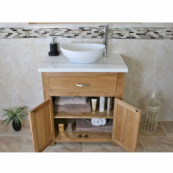 Bathroom Vanity Unit Solid Oak With White Marble Top Etsy