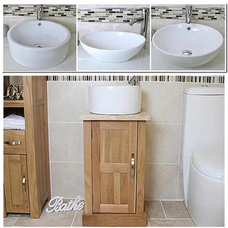 Amazing Oak Bathroom Vanity Cabinet Solid Oak Sink Unit Modern Cabinet Wash Stand Travertine Worktop Ceramic Basin Tap Plug Home Remodeling Inspirations Genioncuboardxyz