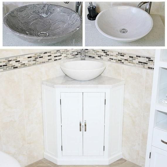 Off White Bathroom Vanity Unit Free Standing Corner Cabinet Etsy