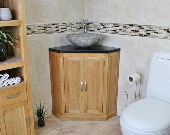 Bathroom Vanity Unit Free Standing Oak Corner Cabinet Black Etsy