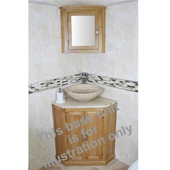 Oak Wall Mounted Mirrored Bathroom Corner Cabinet | Overhead shelving Unit  701