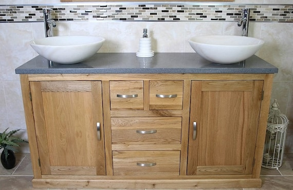 Brilliant Solid Oak Bathroom Vanity Unit Cabinet Twin Marble Bowl Basin Tap Plug 603Gqsbc Home Remodeling Inspirations Genioncuboardxyz