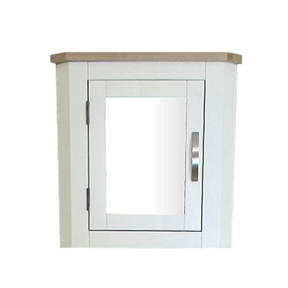 Mirrored Bathroom Corner Cabinet White Painted Wall Mounted Etsy