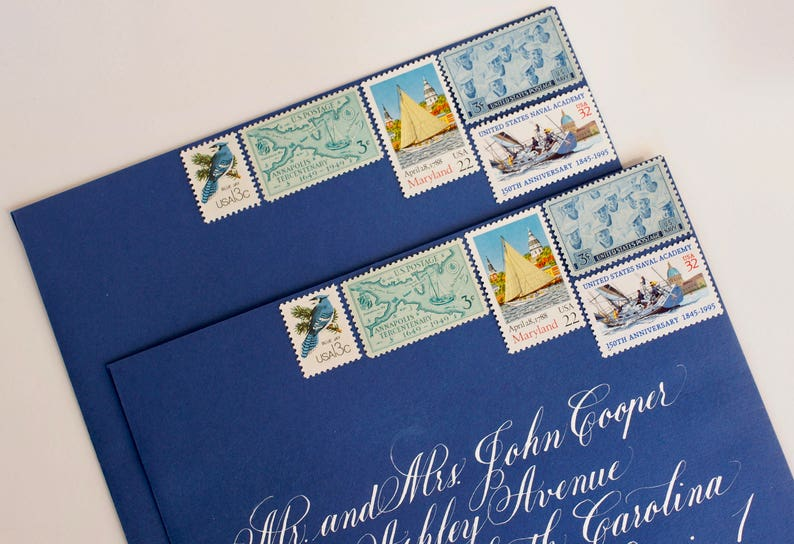 Vintage Stamp Set For 10 Wedding Invitations 2 Ounces Etsy