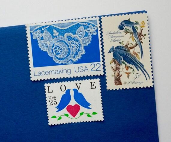 Vintage Stamps For Wedding Invitations: Vintage Stamp Set For 10 Wedding Invitations 1 Ounce Blue