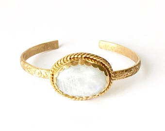Rainbow Moonstone Gold Vermeil Oval Stone Cuff  - One of a kind