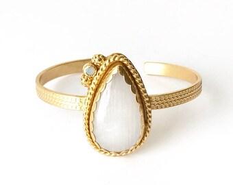 Rainbow Moonstone With Dainty Australian Opal Gold Vermeil Cuff  - One of a kind