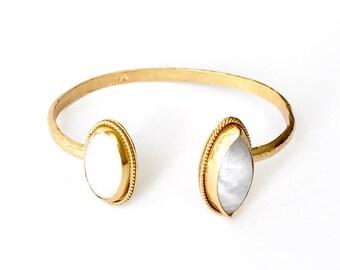 Gold Vermeil Cuff - Rainbow Moonstone - One of a kind