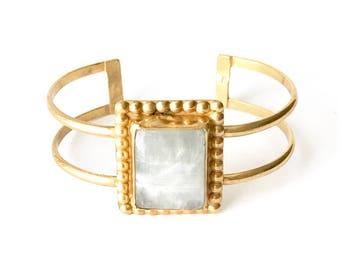 On Sale! Rainbow Moonstone Gold Vermeil Box Stone Cuff  - One of a kind