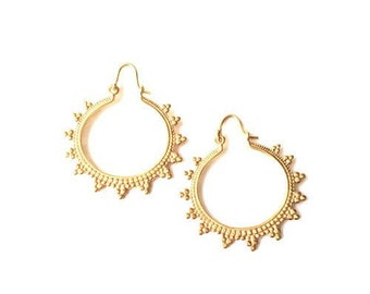 On Sale! Ethnic Hoop Earrings - Gold Plated Sterling Silver
