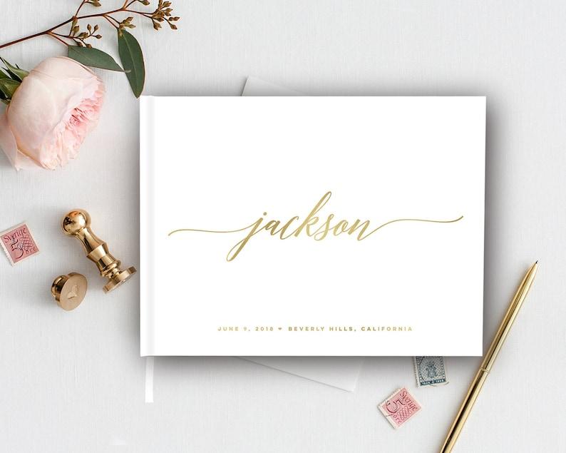 Gold Wedding Modern Wedding Wedding Guest Book Guest Book Elegant Gold Foil Wedding Guest Book Signature Book Wedding Journal White