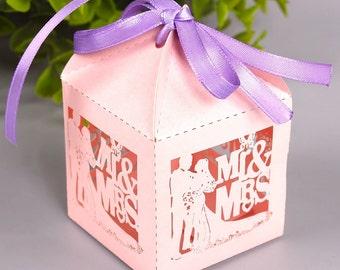 100 DIY Wedding Favor Boxes/Mr and Mrs/Wedding Gift Box for Guests/Mr & Mrs Favors/Elegant Favor Boxes/Bride and Groom Gift Boxes/DIY Favors