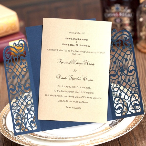 100 navy and gold delicate wedding invitation with etsy