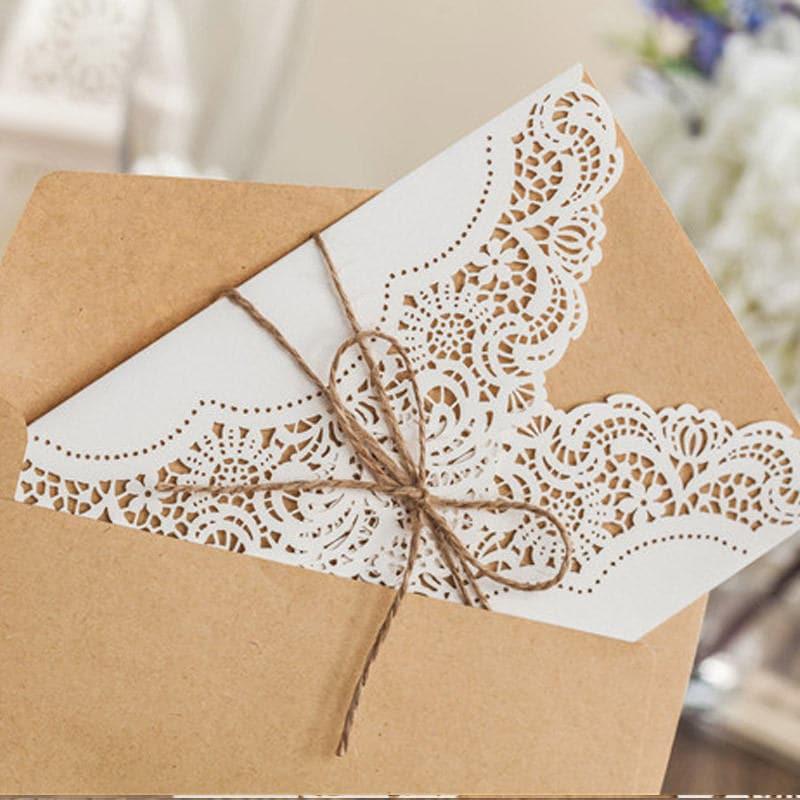 12 Rustic Wedding Invitations/Blank Kraft Wedding