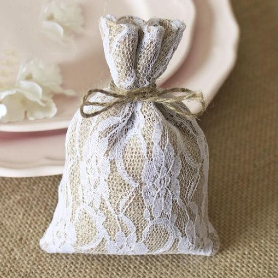 50 Burlap Lace Pouchesdiy Burlap Wedding Favor Bagsrustic Etsy