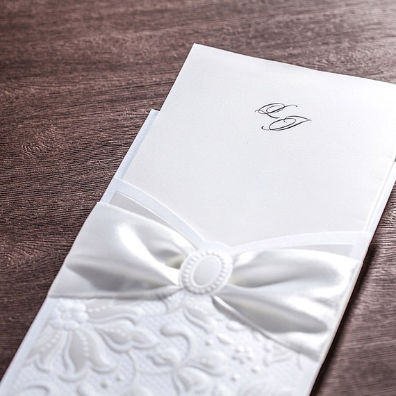 50 white bow embossed wedding invitations with etsy