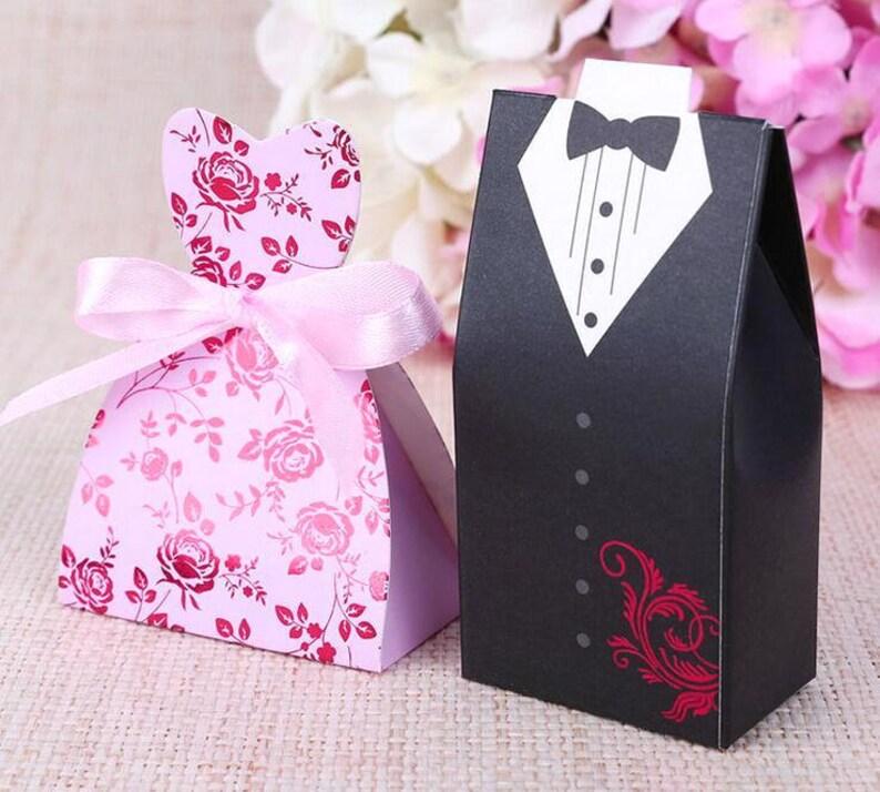 100 Bride And Groom Wedding Favor Boxesdiy Pink Dress Sweetheart Wedding Dress Favor Gift Boxdiy Brides Dress Favor Boxesgroom Tux Favor