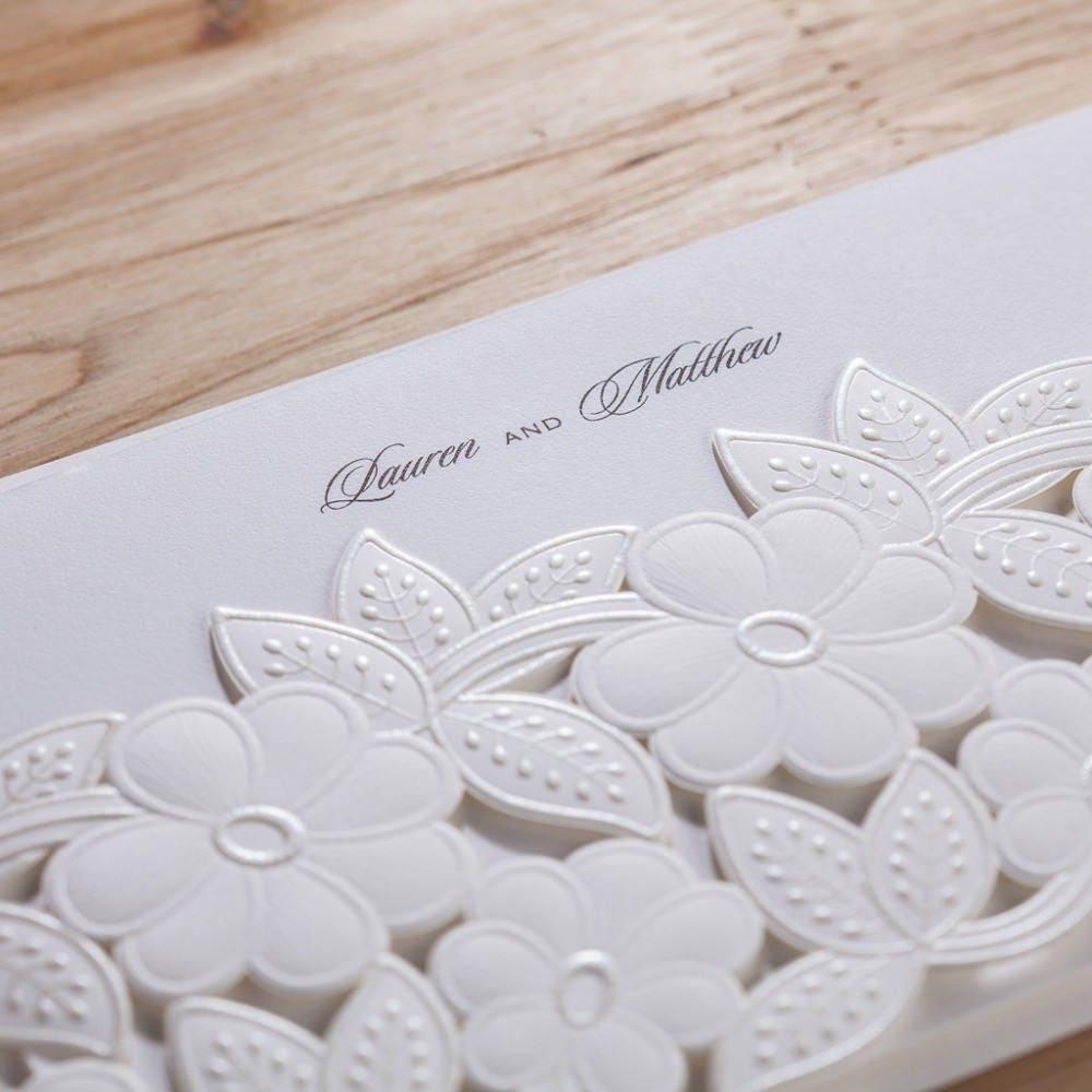 100 White Flowers Wedding Invitation/DIY Pure White Elegant Wedding ...