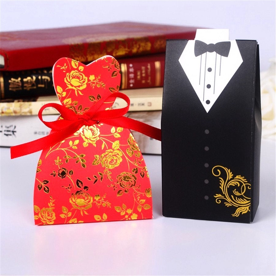 100 Bride And Groom Wedding Favor Boxesred Dress Sweetheart Cut