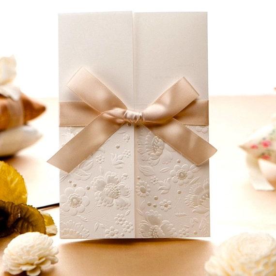50 Ivory Ribbon Wedding Invitations With Envelopes Diy Etsy