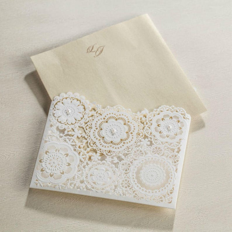 12 Rustic Wedding Invitation SetWhite Pearl Wedding Invitation with EnvelopesBlank Elegant Wedding InvitationFloral Wedding Invitations
