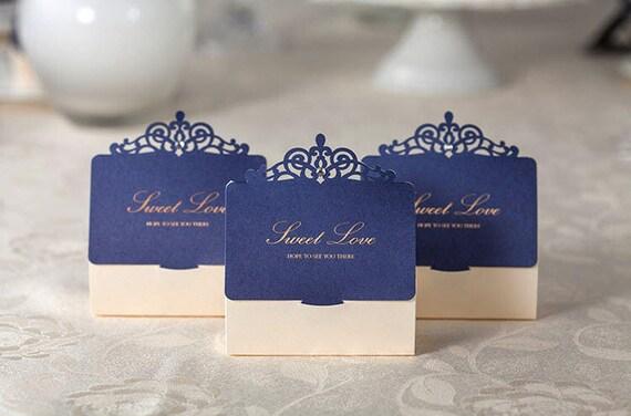 Wedding Party Gifts Uk: 50 Royal Blue And Cream Wedding Favor Boxes/DIY Elegant