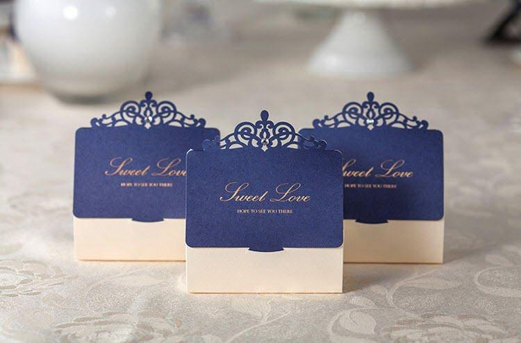 Royal Wedding Gifts: 50 Royal Blue And Cream Wedding Favor Boxes/DIY Elegant