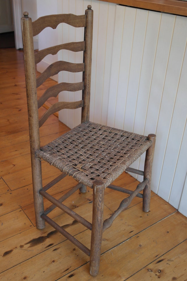 Vintage / Antique Wooden Ladder Back Hall Chair With Woven | Etsy