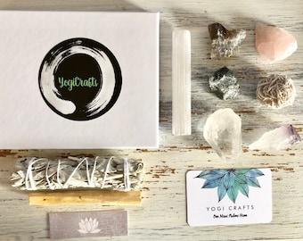 Home Cleansing Kit / Sage Palo Santo Crystal Healing Set / Cleansing Purifying Housewarming Rose Quartz Clear Quartz Amethyst Emerald Smoky