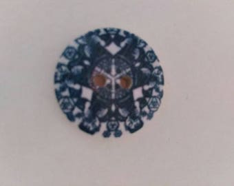 Set of 2 blue graphic pattern new plastic buttons