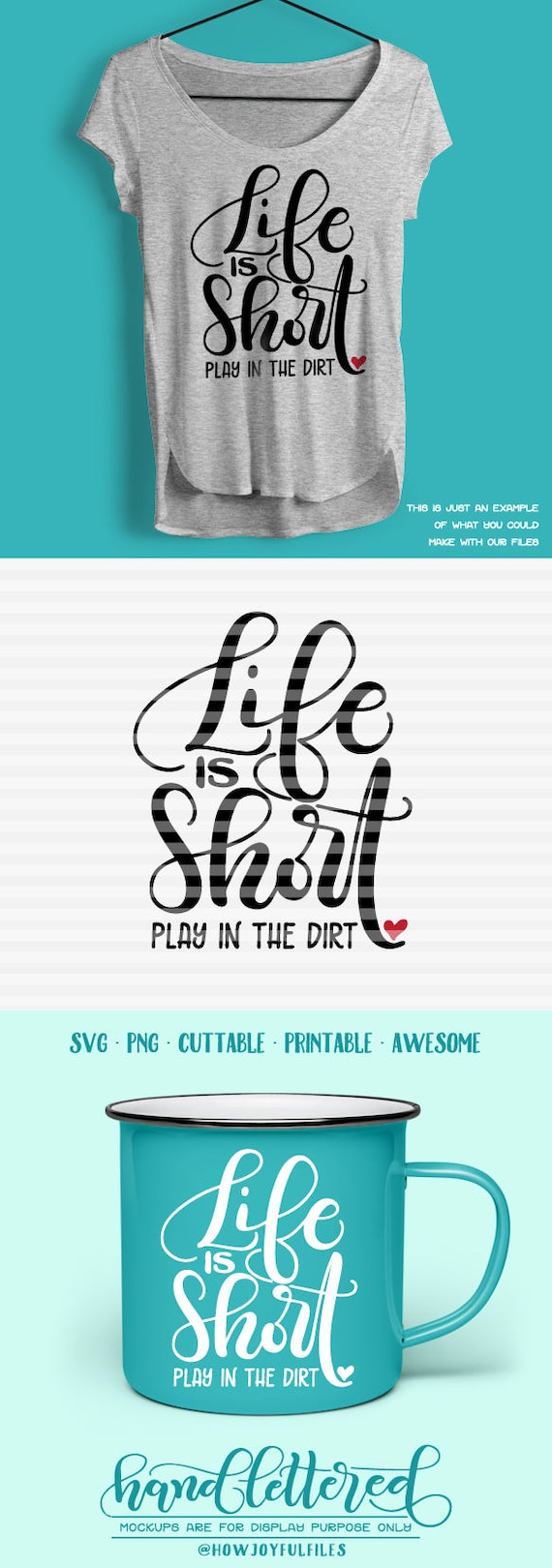 Life Is Short Play In The Dirt Svg Pdf Dxf Hand Etsy
