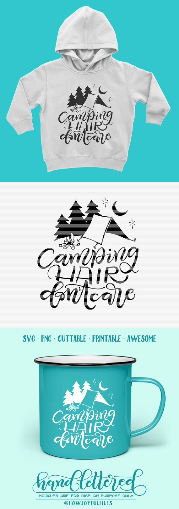 Camping Hair Don T Care Trailer Svg Dxf Pdf Files Etsy