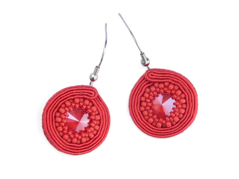 Round red dangle soutache earrings image 0