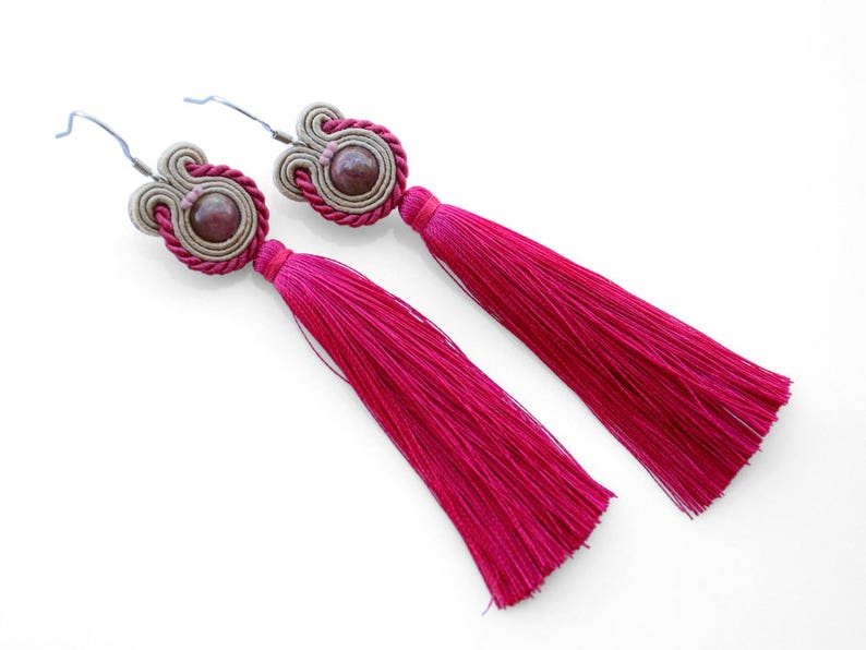 Long pink tassel earrings with gemstones image 0