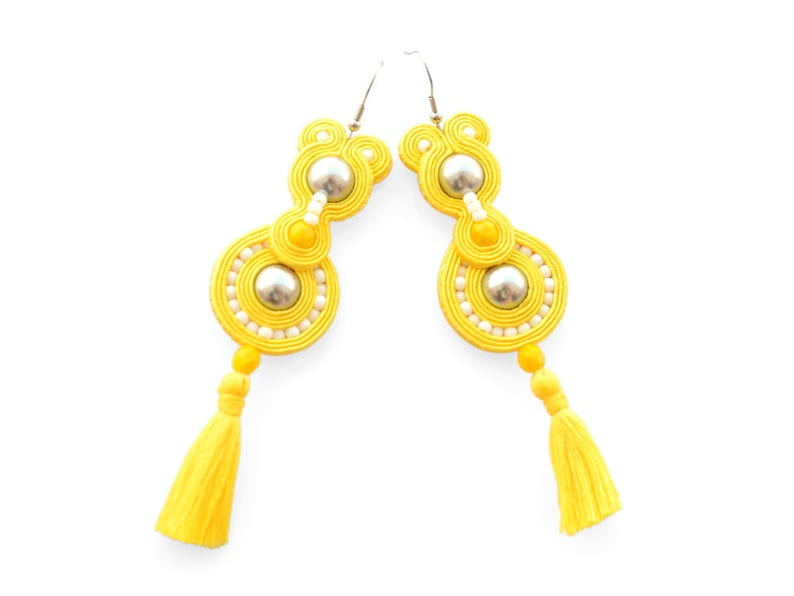 Long yellow soutache earrings with tassels image 0