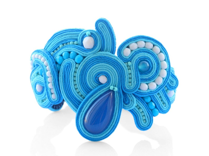 Blue statement cuff bracelet with agate image 0