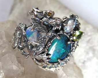 Handmade Silver Dragon Ring, Natural Black Australian Opal Ring, Handmade Jewelry, Dragon jewelry, Fine Jewelry