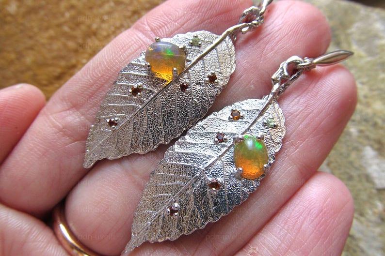 Fine Jewelry Nature Inspired Jewelry Genuine Opal Earrings Leaves Silver Earrings Silver Handmade Earrings
