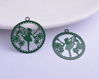 2 Purple Elf fairy prints Elf fairy charms metal 32 x 21 mm
