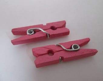 x 10 linen wooden clothespins painted 26 x 8 x 3 mm pink